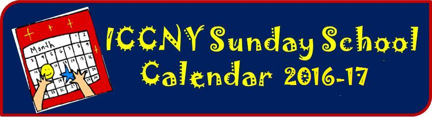 ICCNY Sunday School Calendar 2016-17